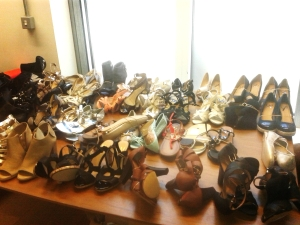Shoes glorious shoes: I know it looks like a jumble sale but amongst them are some absolute treasures including items sold in well known high street shops such as Wallis and Dorothy Perkins