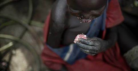 Young Sudanese girl eating water lilies  Photo credit (c) BBC
