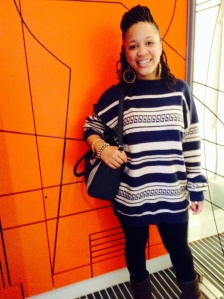 Beautiful Sarra: rocking the oversized pattern jumper and kinky twists with style