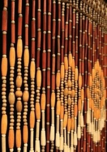 Old school: Brown beaded curtains