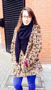 Sultry Anj: rocking the vintage faux leopard print coat with style
