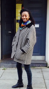 Stunning Holly:  looking great in the dogtooth jacket