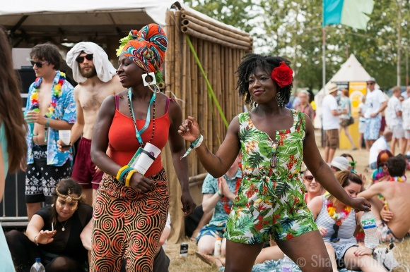 We survived: My friend and I dancing our hearts out to Congolese music. (Copyright. Richard Shakespeare.)